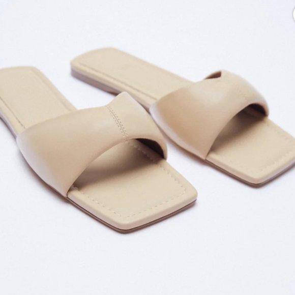Zara flat padded leather sandals in beige